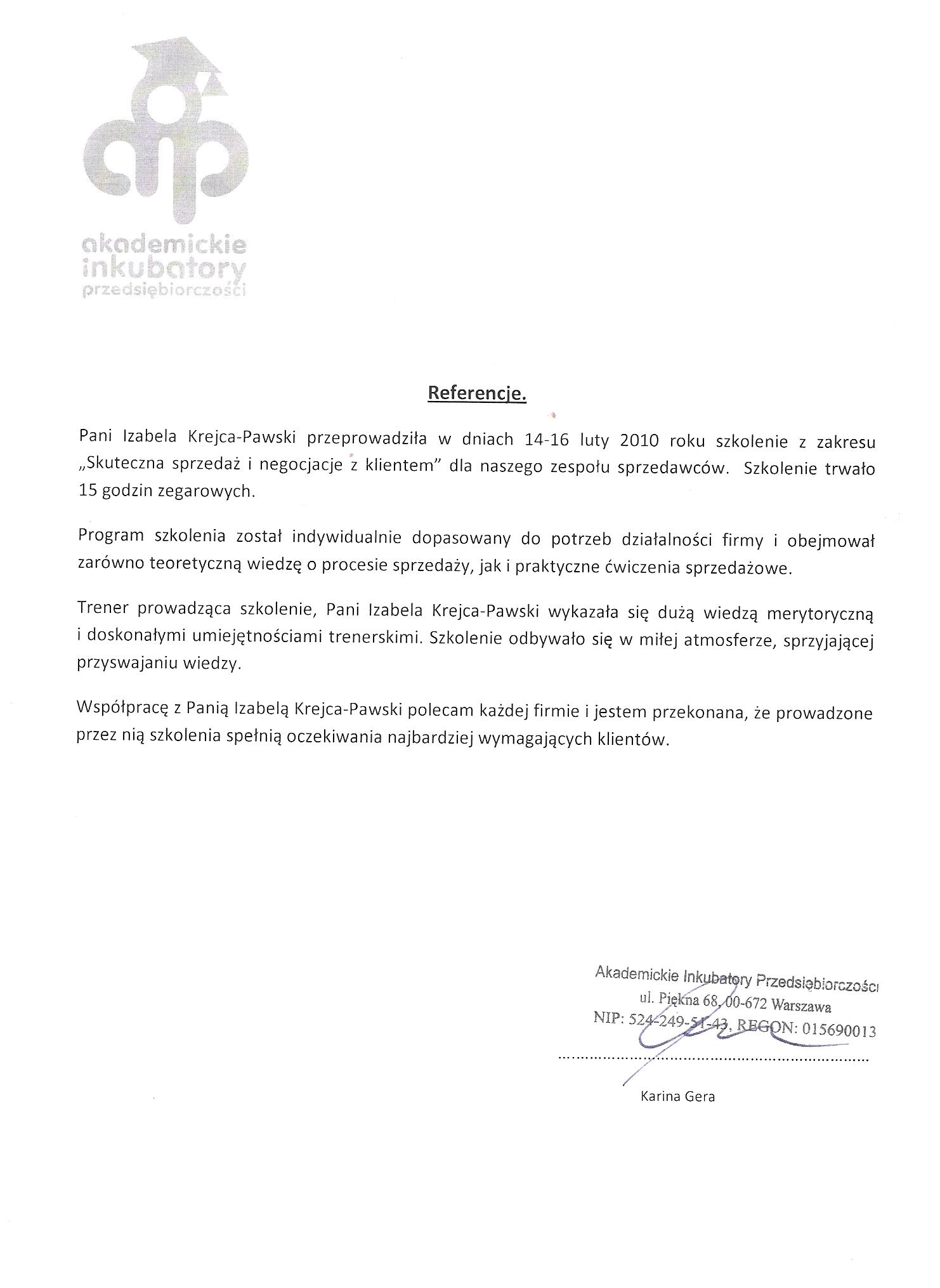 Referencje szkolenia dla AIP 2010r.