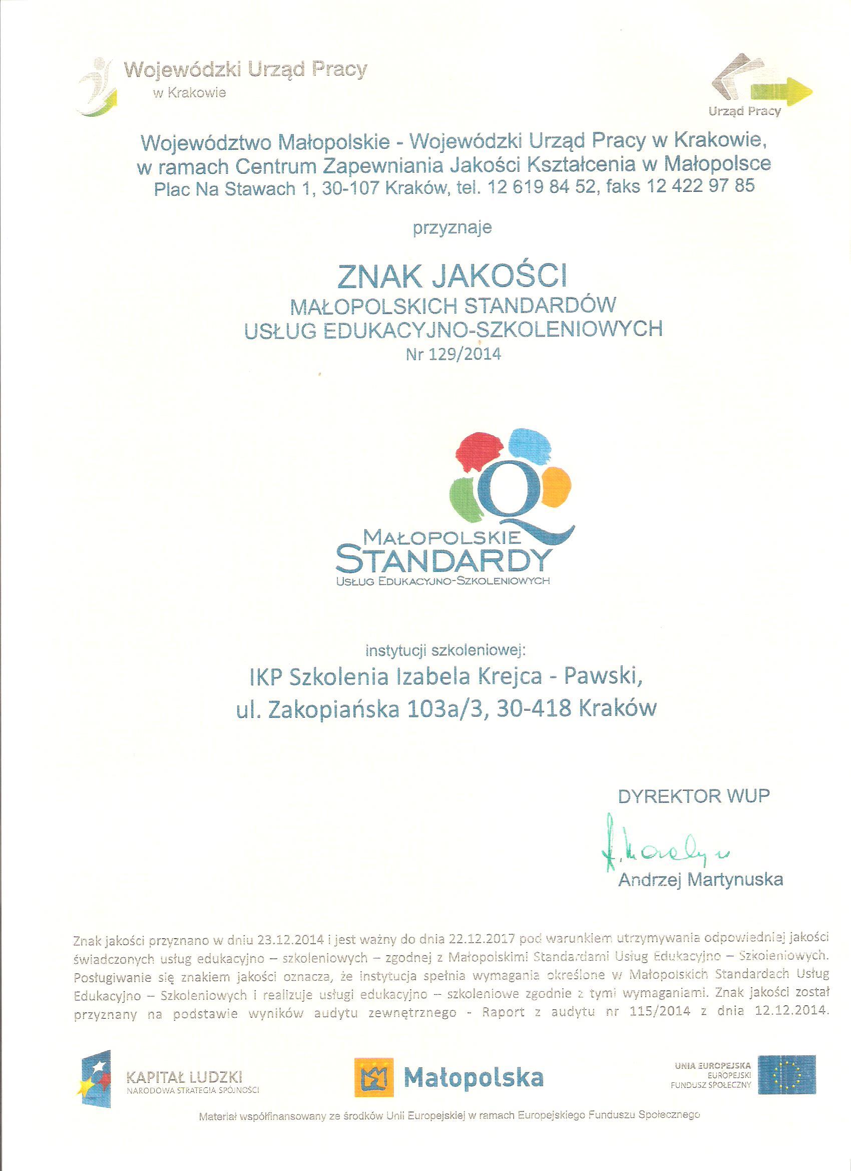 Certyfikat jakości MSUES 001