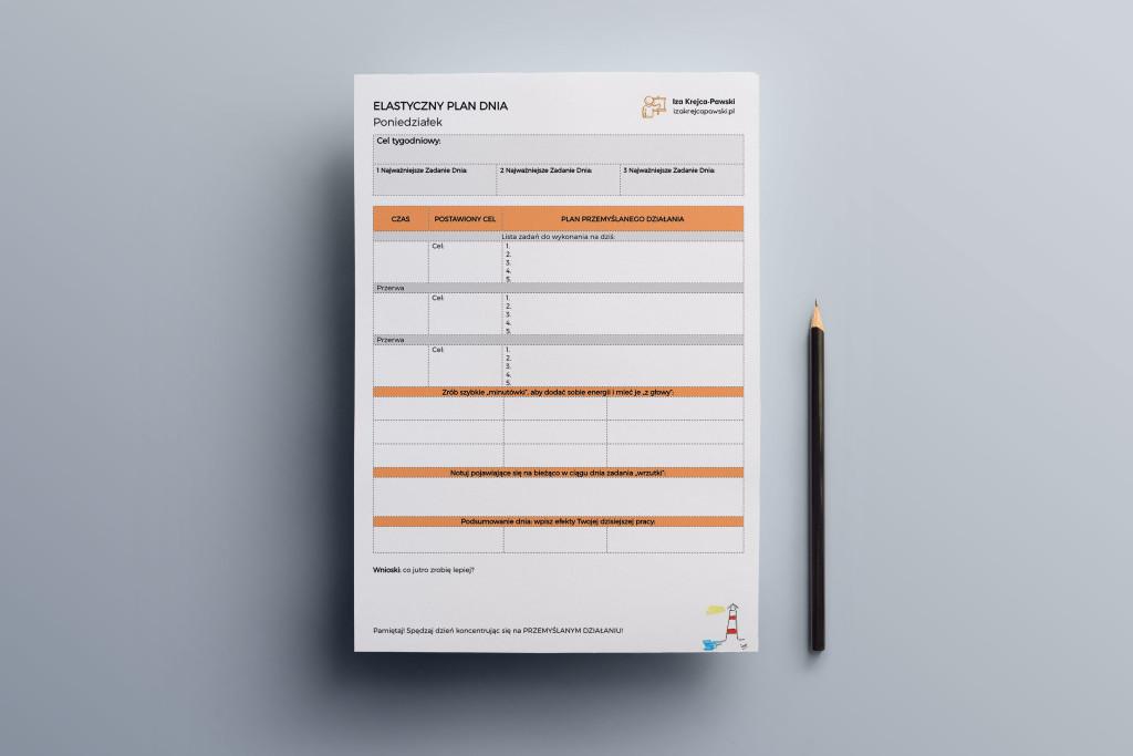 Planer Elastycznego Zarządzania Czasem Dzienna lista